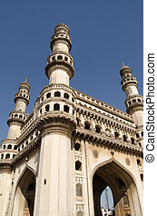 Charminar Tower angled view - View looking up towards the...