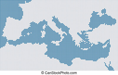 Mediterranean gray and blue pixel map