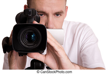 camcorder - man with video camera, isolated on white...