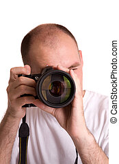 paparazzo - photographer with telephoto isolated on white...