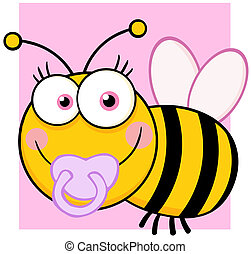 Baby Girl Bee Cartoon Character - Happy Baby Girl Bee...