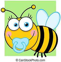 Baby Boy Bee Cartoon Character - Happy Baby Boy Bee Cartoon...