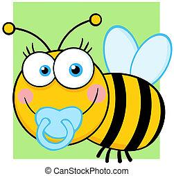 Baby Boy Bee Cartoon Character - Happy Baby Boy Bee Cartoon...