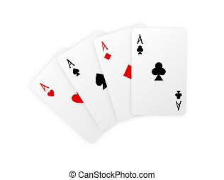 Vector playing cards. Four aces isolated on white background wit