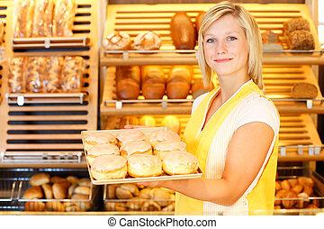 panadería, Tendero, presentes, rosquillas
