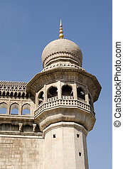 Mecca Masjid Detail, Hyderabad - One of the minaret towers...