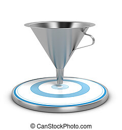 Business Sales Funnel Concept - Empty metal funnel and blue...