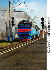 locomotive with a freight train was approaching the station