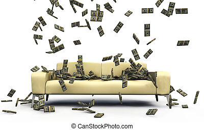 falling dollars on a sofa isolated on white background