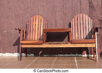 wood chairs on terrace