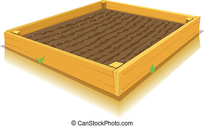Square-Foot Gardening - Illustration of a cartoon square...