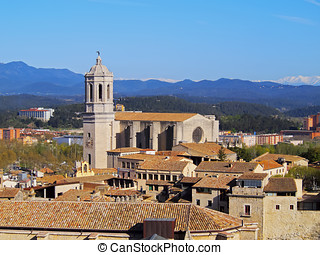Cathedral in Girona - Girona cityscape with the magnificient...