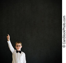 School boy hands up answering question - Education school...