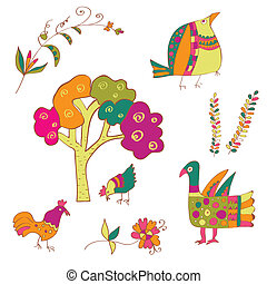 Traditional birds and flowers ethnic set