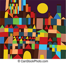 Abstract city background funny design