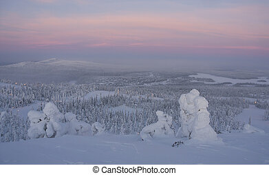 Winter landscape at sunset in Finland - Snowy winter...