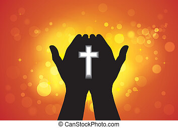 Person offering prayer or worshiping with cross in hand