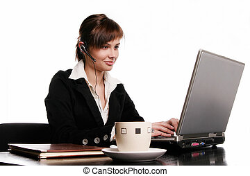 Beautiful woman working with laptop