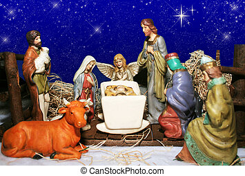 Nativity Scene - Nativity scene with blue starry sky...