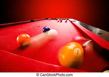 Billiards pool game. Breaking the color ball from triangle....