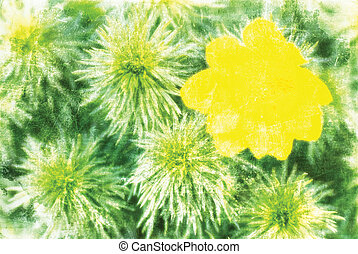 full-blown yellow flower and green branches, artwork in...
