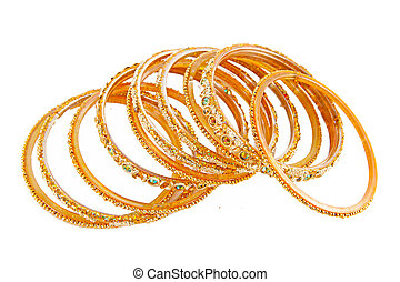 Bangle, Indian bracelets isolated on the white background