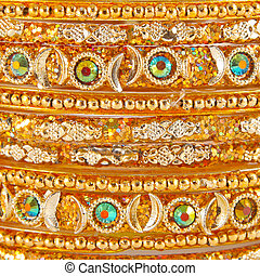 Traditional Indian bangles with different colors and...