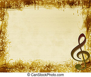 Brown Grunge Musical Background - Brown and tan textured...