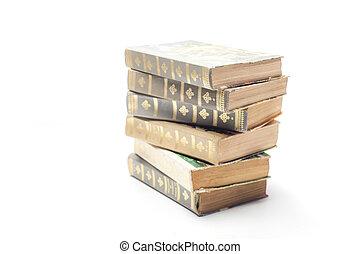 Årgång, vit, bok, gammal, bakgrund