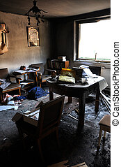 Room interior after house fire - Ruins of a destroyed...