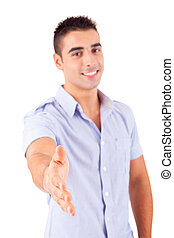 Handshake - Young man offering handshake, isolated over a...