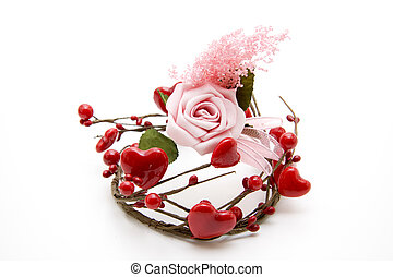 Rose with heart wreath