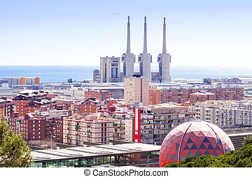 view of Badalona and Sant Adria de Besos - Top view of...