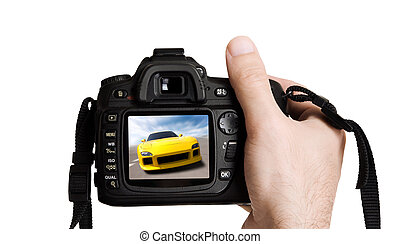 sport photography - concept with digital camera and fast...