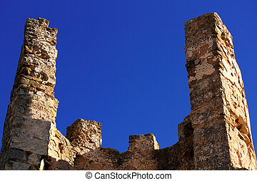 Ruins of Old castle of the Knights Templar in Alcala de...