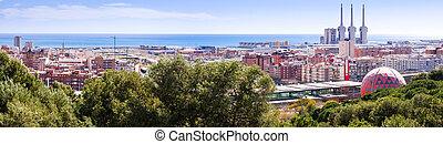 Panoramic view of Badalona and Sant Adria de Besos...