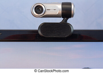 Webcam installed at a monitor