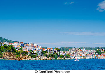 View of Skiathos town and harbour in Greece