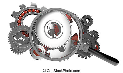 analizing gears - render of a magnifying glass over a gears