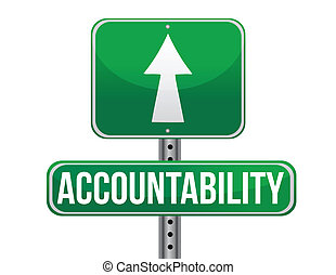 accountability road sign illustration design over a white...
