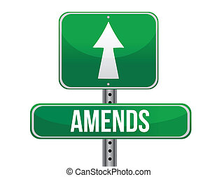 amends road sign illustration design over a white background