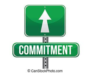 compromiso, camino, señal, Ilustración,...