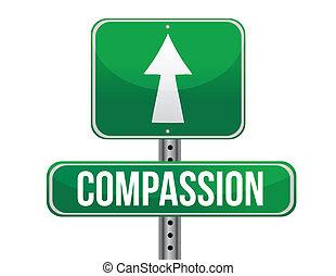compasión, camino, señal, Ilustración