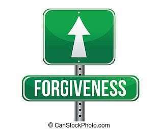 perdón, camino, señal, Ilustración,...