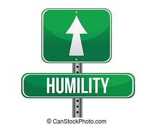 humildad, camino, señal, Ilustración