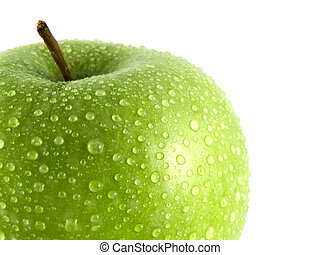 Isolated green apple with water drops on white - Isolated...