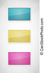 glossy rectangles - Set of three glossy rectangles with...