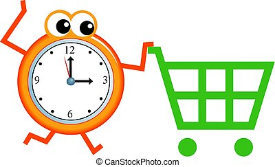 shopping time - Mr time pushing a shopping trolley isolated...
