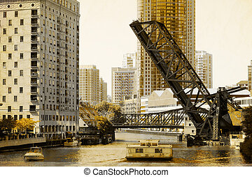 vindima, quadro,  -, efeito,  Chicago