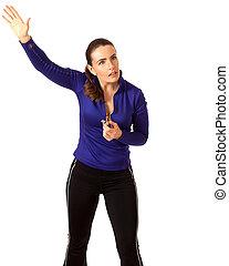 Women's Sports Coach - Women's sports coach. Studio shot...